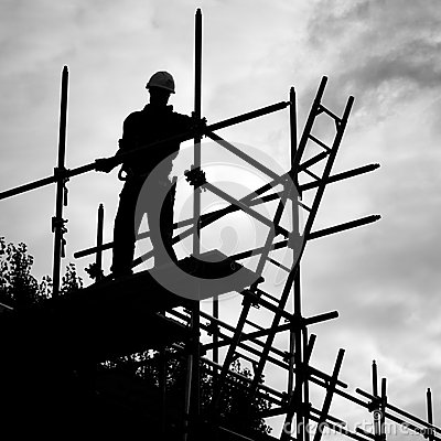 Silhouette Construction Worker On Scaffolding Building Site Stock.