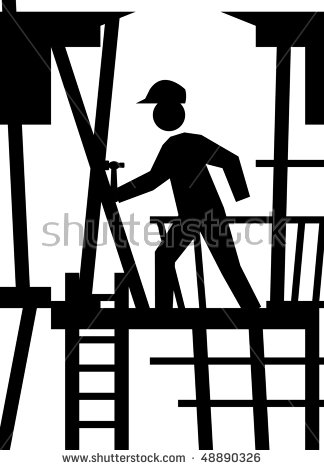 Silhouette Of Building Working On Construction Site Scaffold.