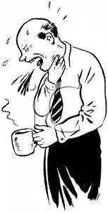 Man Coughing After He Has Scalded His Throat with Hot Coffee.