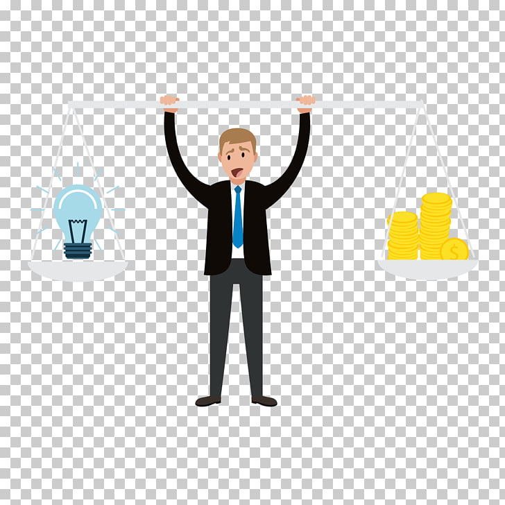 Idea Illustration, figure holding a balance scale PNG.