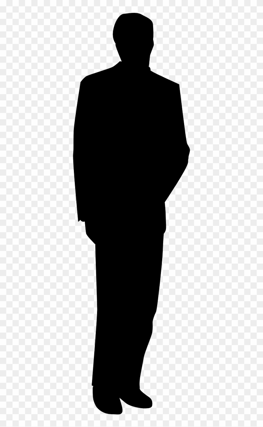 Silhouette, Drawing, Suit, Standing, Black Png Image.