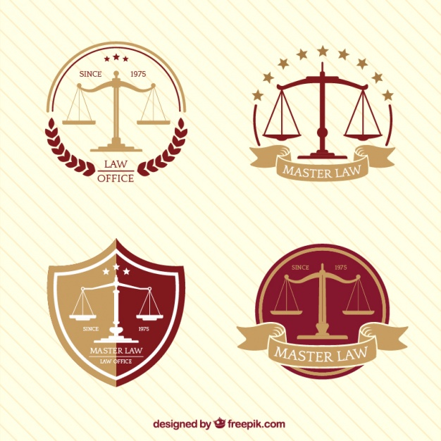 Collection of four logos with scale in flat design Vector.