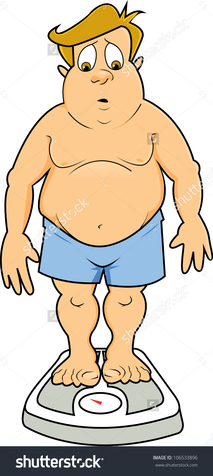 Overweight Man Underwear Standing On Scale Stock Vector 106533896.
