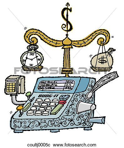 Stock Photography of calculator, scale, balance, crunching numbers.