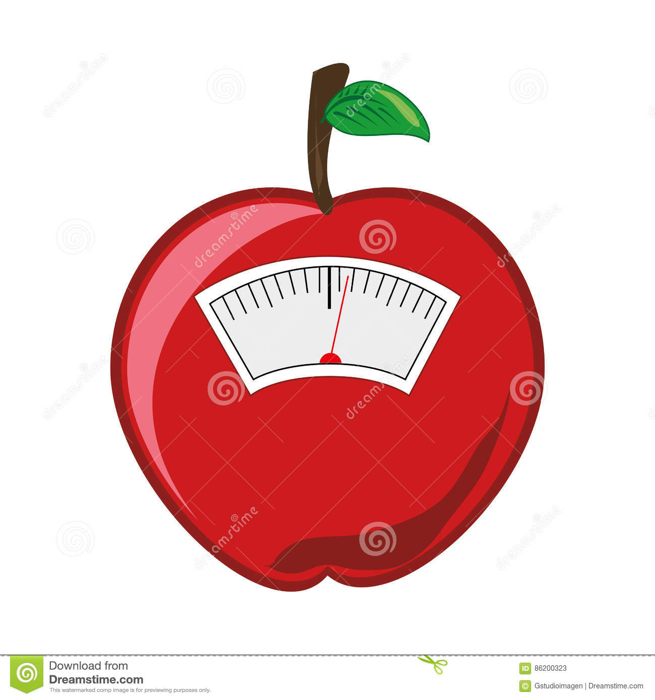 Color Silhouette With Scales For Weight Control In Shape Of Apple.