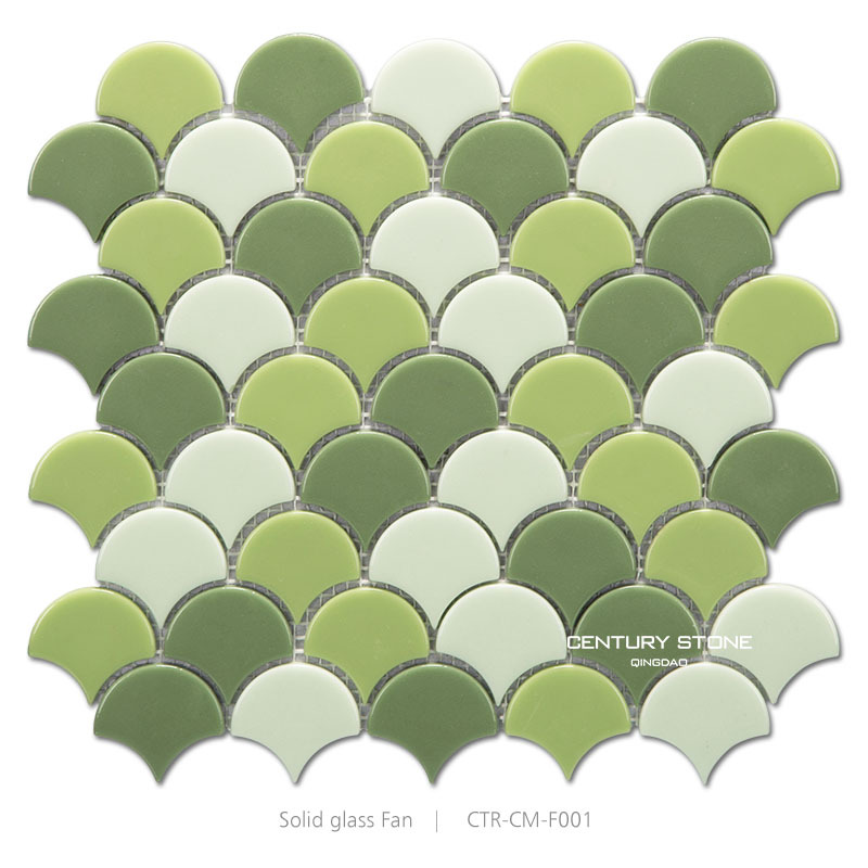 Glossy Candy Solid Glass Green Fish Scale Shape Tile.
