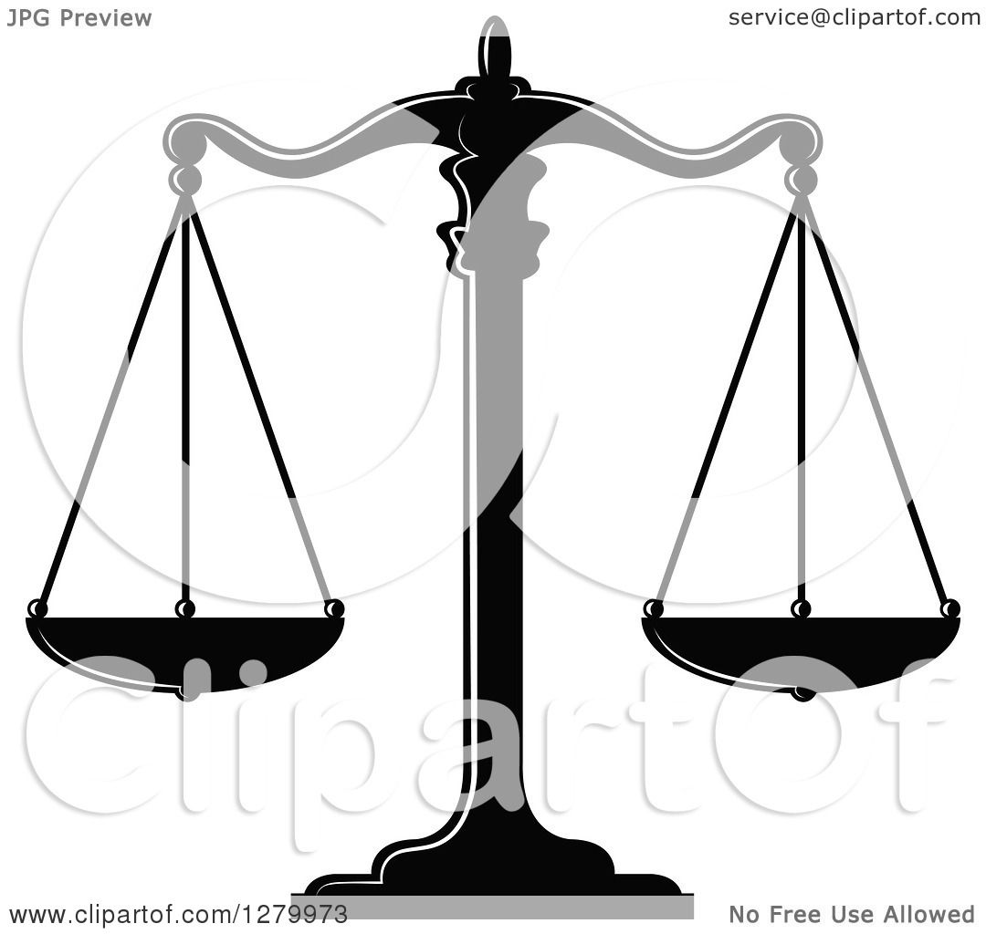 Clipart of a Black and White Fair and Balanced Scales of Justice 4.