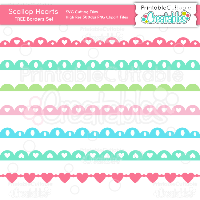 Scallop Hearts Borders Set SVG Cutting Files & Clipart.