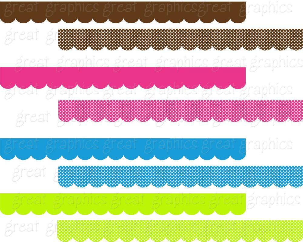 Scallop Border Digital Scallop Clip Art Border Clipart Clip Art Border  Digital Border Invitation Clipart.