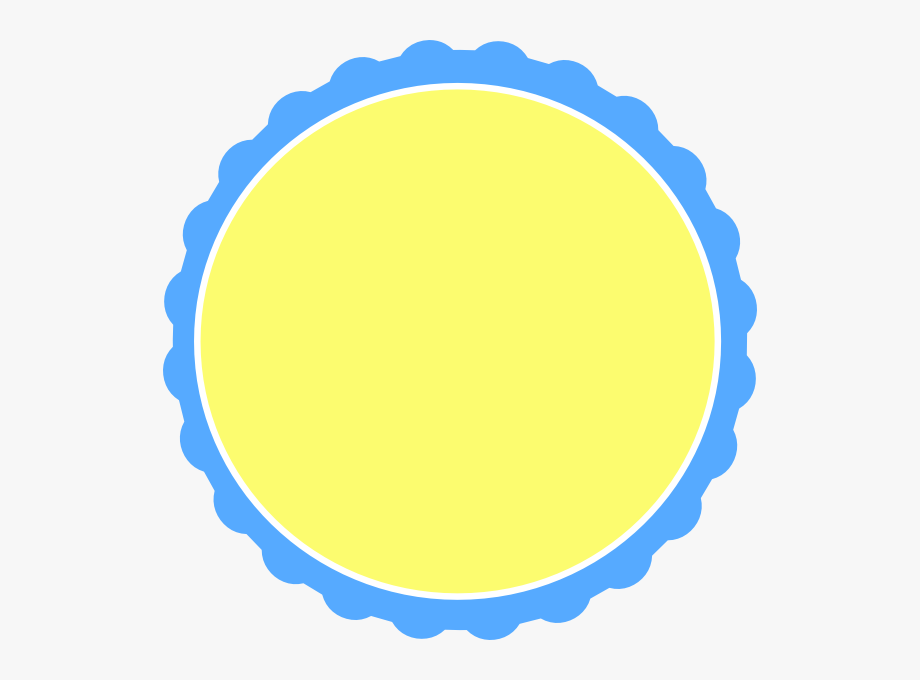 Yellow Scalloped Circle Frame Clip Art.