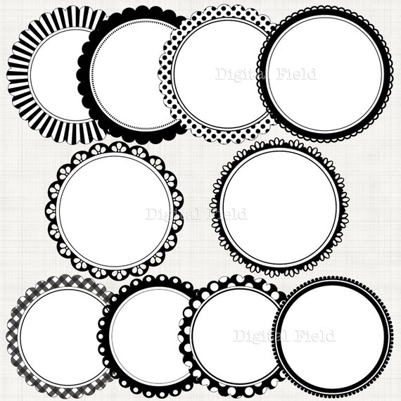 Black&white scalloped circle frames borders clip art set.