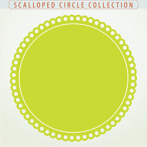 Surprise Sale 46 Digital Clip Art Scalloped Circles.