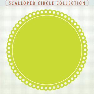Surprise Sale 46 Digital Clip Art Scalloped Circles.