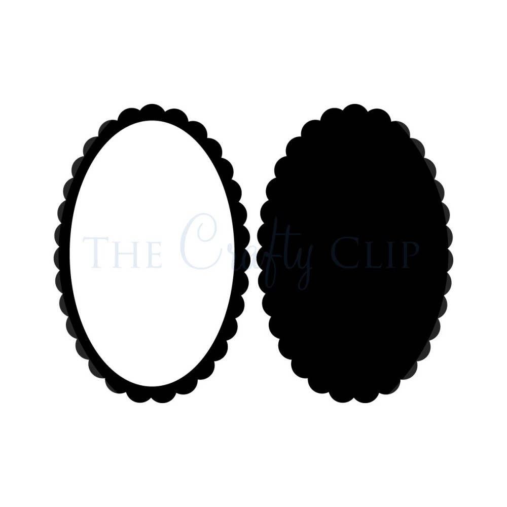 Scalloped Edge Oval Clipart.