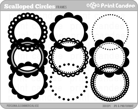 Black and white scalloped circle clipart.