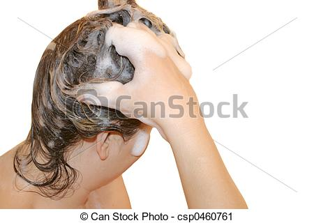 Stock Photography of washing hair.