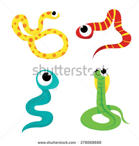 A Cartoon Vector Illustration Set Of Four Different Scaly And.