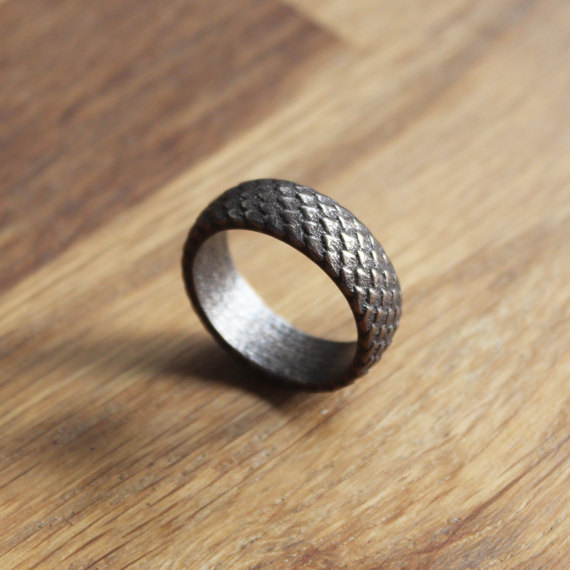 Nidhog Antic and scaly viking bronze steel ring by PrimalCrafts.