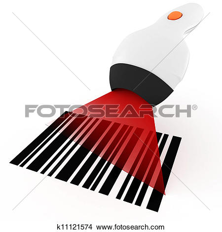 Drawing of 3d bar code scanner, on white background k11121553.