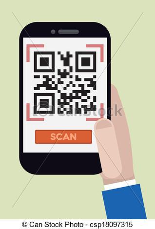 Vector Clip Art of qr code scan.