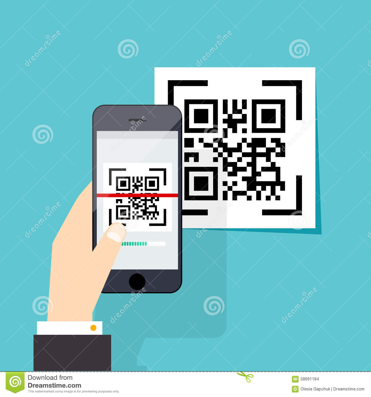 Scan QR Code To Mobile Phone. Electronic Scan, Digital Technolo.