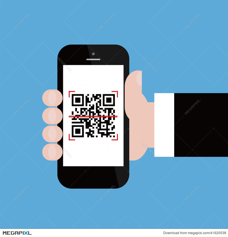Mobile Phone In Businessman Hand Scanning Qr Code.