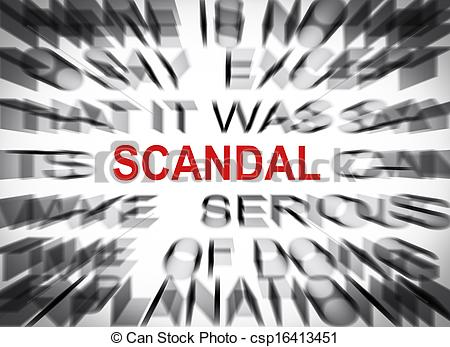 Stock Illustrations of Blured text with focus on SCANDAL.