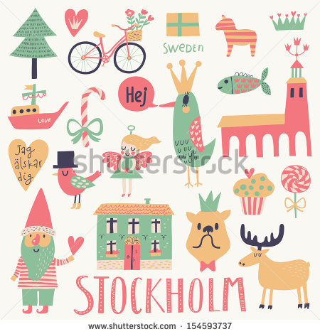 Stockholm Sweden Set Vector Cute Stylish Stock Vector 154593737.