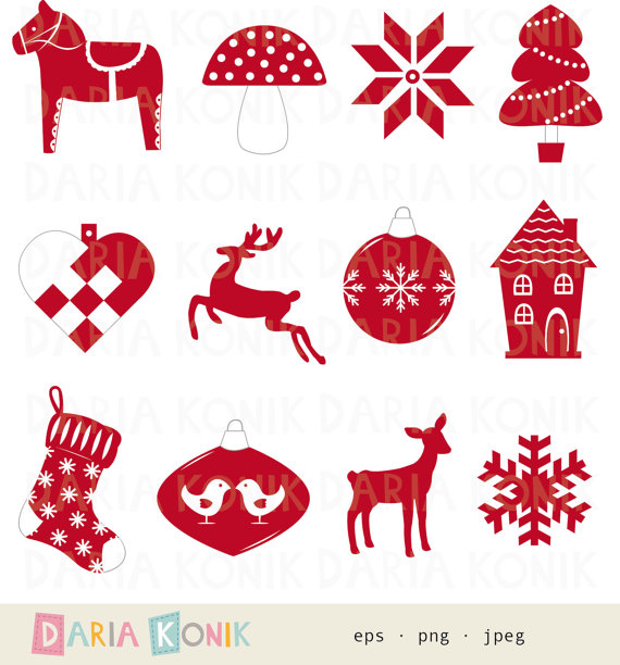 Scandinavian Christmas Clip Art Set with woven heart and dala.
