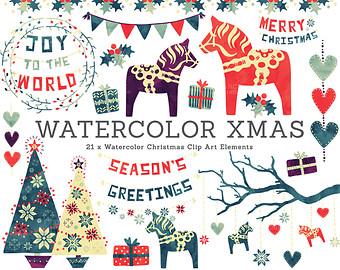 Watercolor Christmas Decoration Clip Art. Traditional Nordic Folk.
