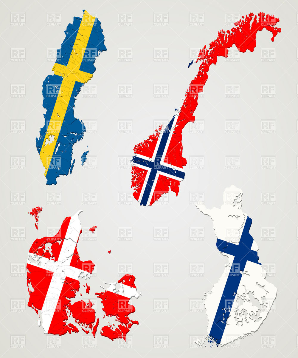 Scandinavia map clipart.