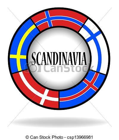 Stock Illustration of Scandinavian flags in a circle csp13966981.