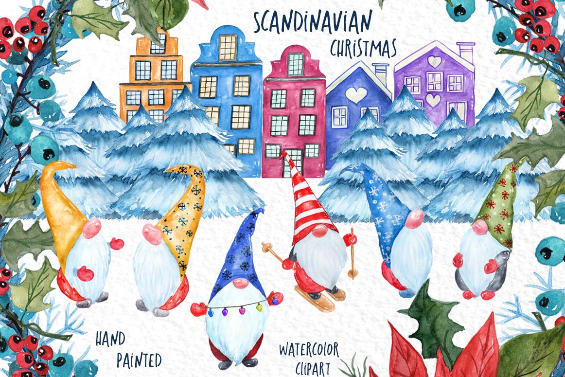Watercolor Scandinavian Gnome, Christmas clipart.