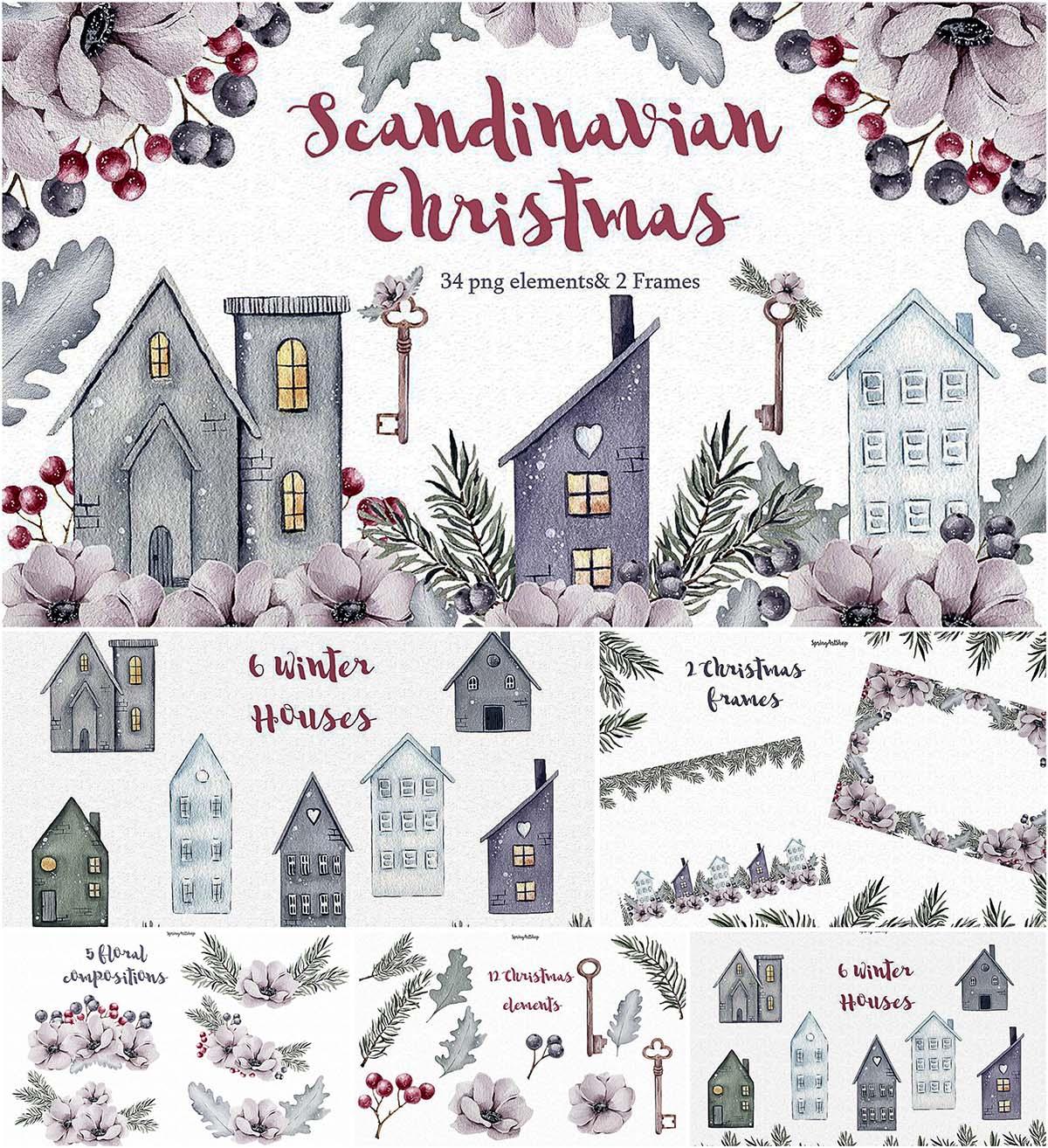 Scandinavian Christmas clipart.