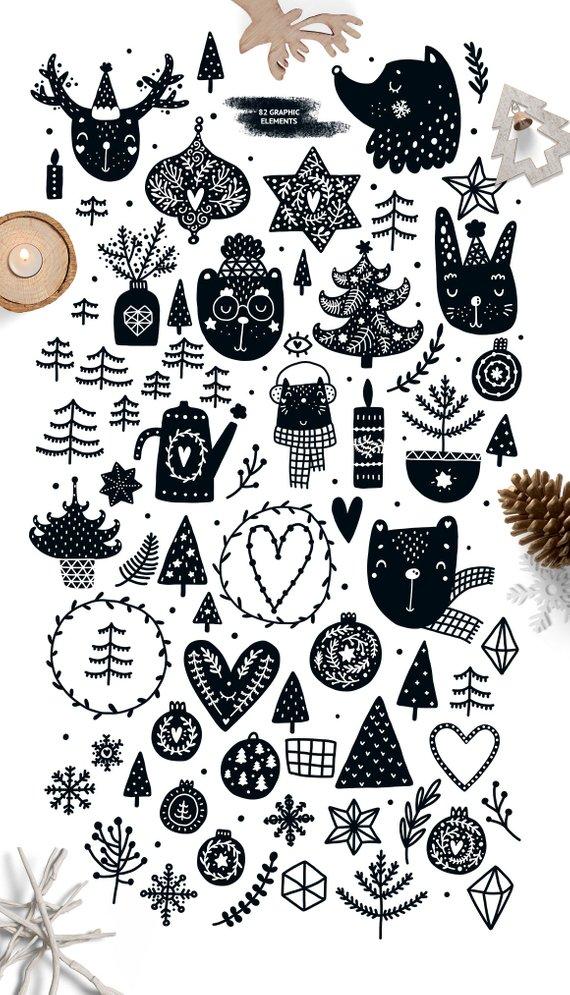 Christmas clipart Monochrome Digital paper Christmas tags.