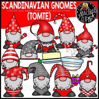 Scandinavian Holiday Gnomes Clip Art Set {Educlips Clipart}.