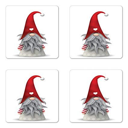 Ambesonne Gnome Coaster Set of Four, Nordic Tonttu Myth Finnish Legend  Creature Nisser Scandinavian Folklore Print, Square Hardboard Gloss  Coasters.