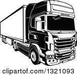 Clipart of a Red Volvo 3610 Big Rig Truck.