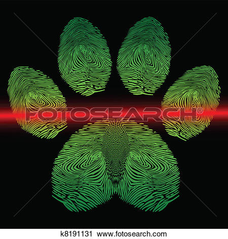Clipart of Scanned paw print k8191131.
