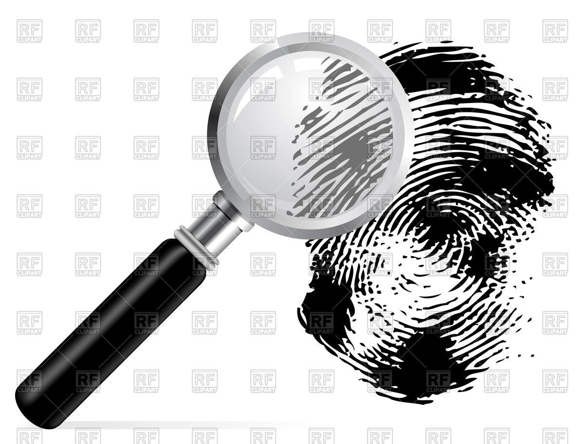 Magnifier with scanned fingerprint Vector Image #73507.