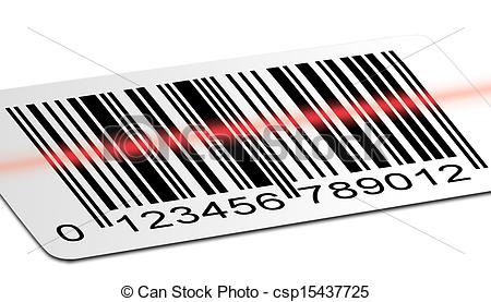 Clip Art of Barcode scanned.