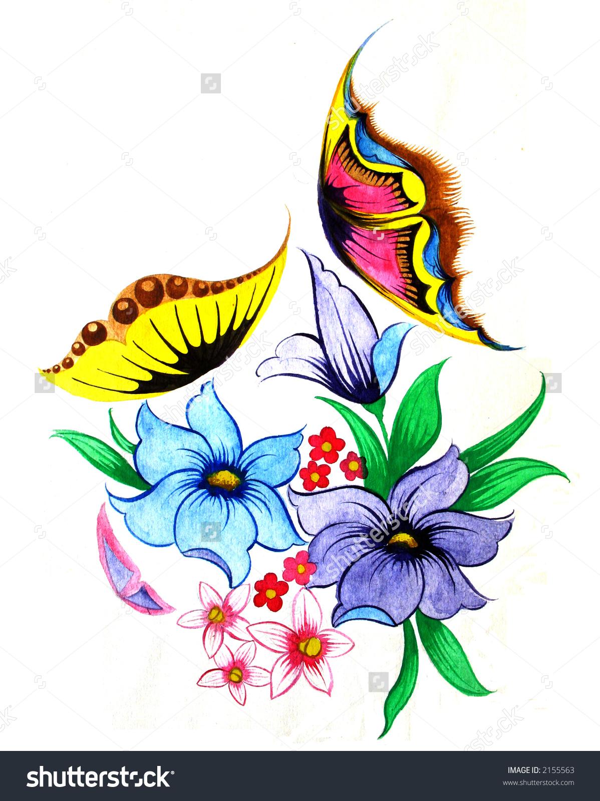 Flowers Butterflies Scan Original Drawing Stock Photo 2155563.