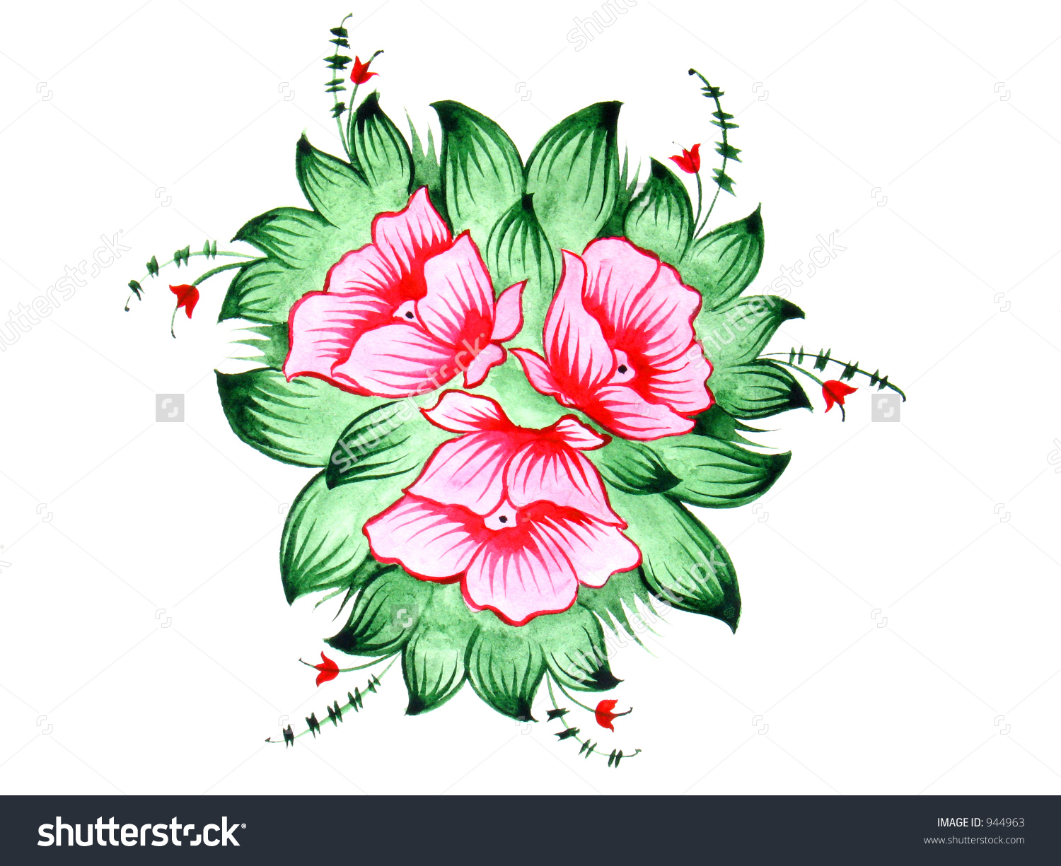 Red Flowers Russian Folk Design Scan Stock Photo 944963.