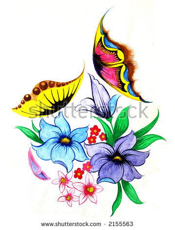 Flowers Butterflies Scan Original Drawing Stock Photo 2155563.