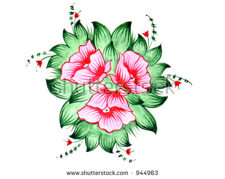 Flowers Scan Original Drawing Russian Folk Stock Photo 896148.