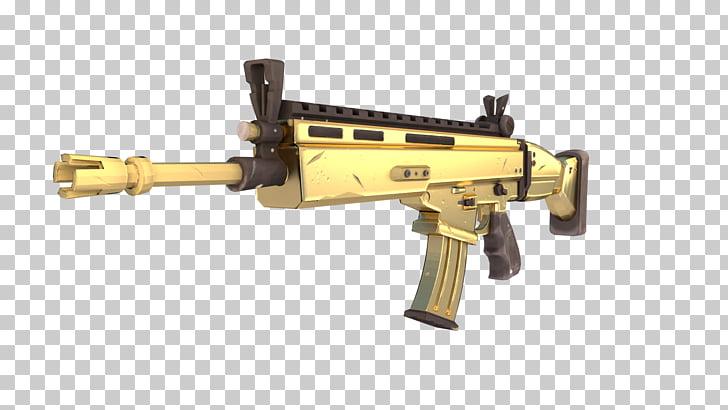 Fortnite Battle Royale Weapon Firearm FN SCAR, weapon, gold.