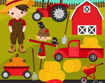 Farm clipart Fall at Backyard. Cute apple picker characters.