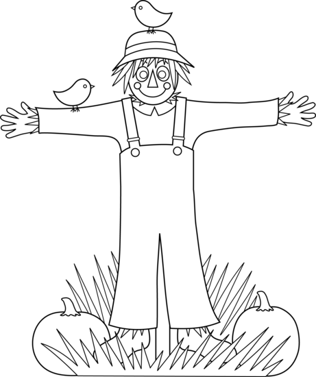 Black and white scarecrow clipart clipart images gallery for.