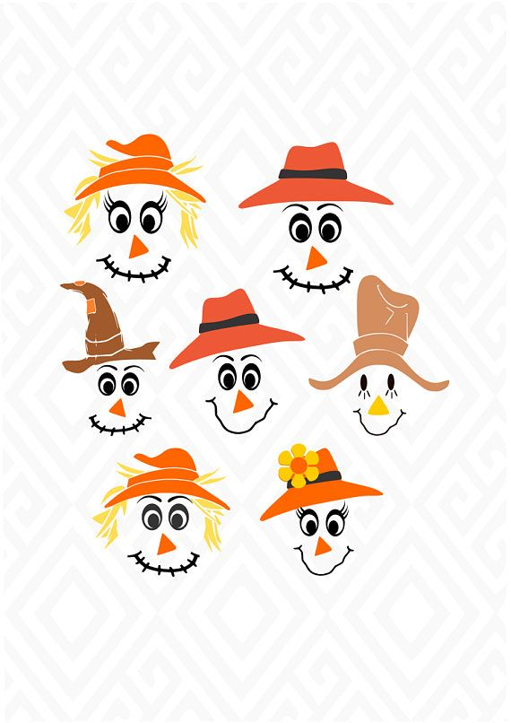 Scarecrow Faces; SVG, DXF, EPS, Ai, Jpeg, Png and Pdf.