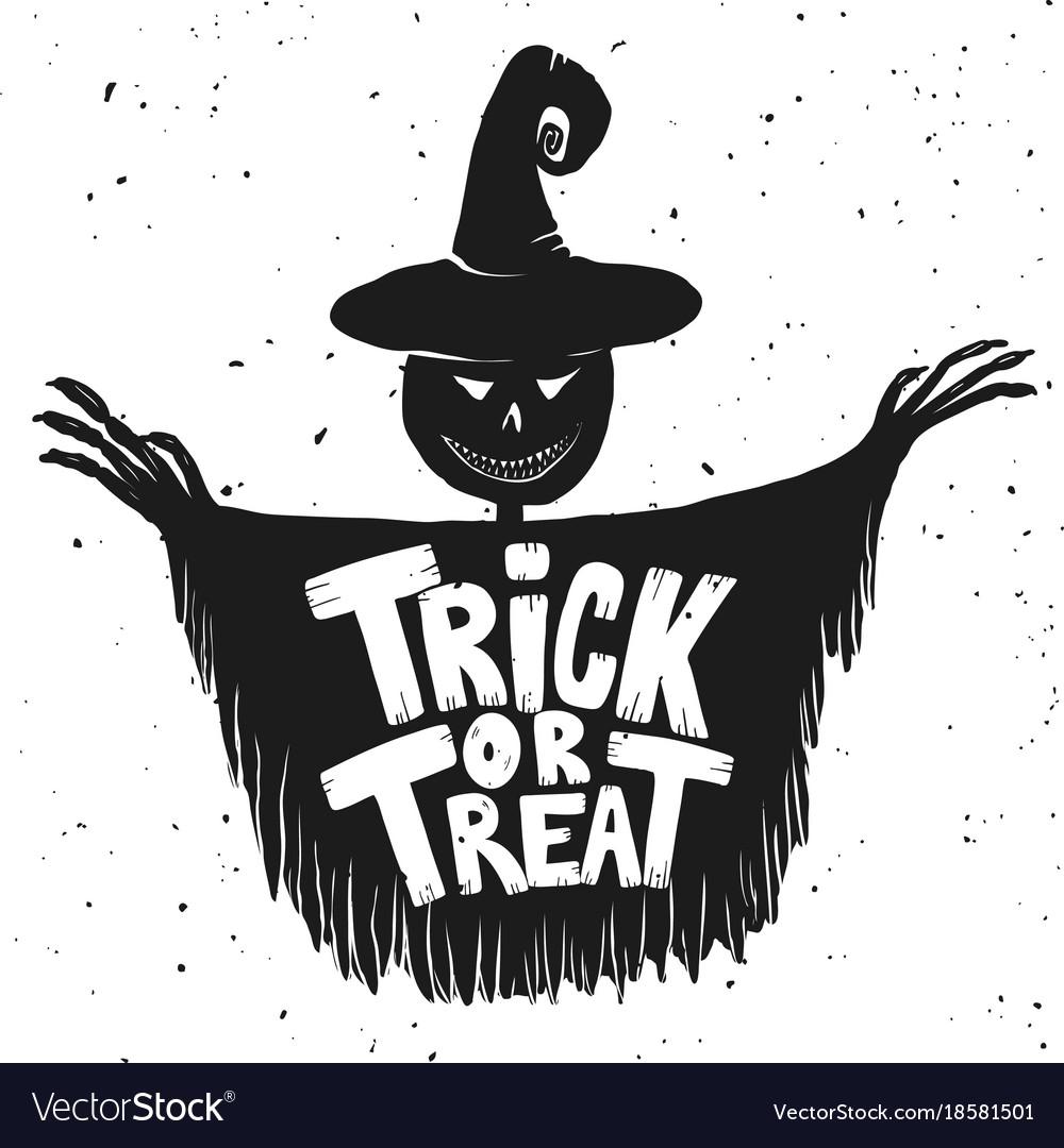 Trick or treat scarecrow on white background.